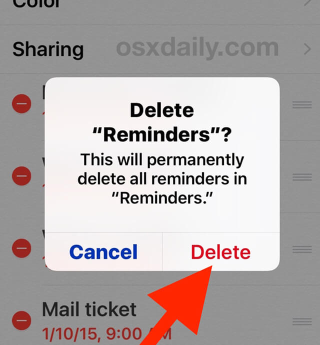 restore lost reminders on iPhone